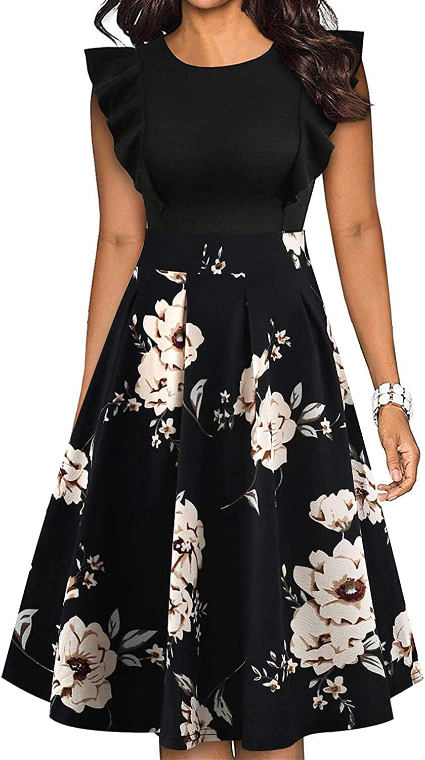 IHOT Womens Vintage Ruffle Sleeves Floral Print Flared A Line Swing Casual Cocktail Party Dresses with Pockets