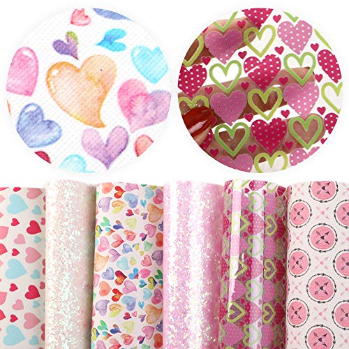 David accessories Valentine's Day Heart Love Printed Faux Leather Sheets Glitter Sequins Fabric...