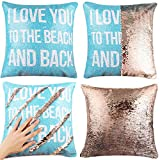 EVERMARKET Valentine's Day Mermaid Throw Pillow Cover,Magic Reversible Sequin Cover, Throw Cushion Decorative Pillow Case That Change Color (I Love You to The Beach and Back)