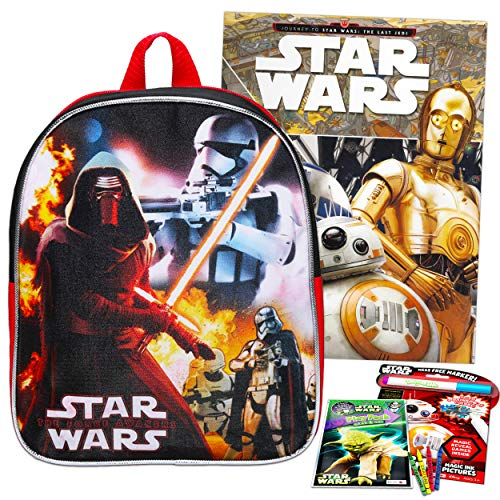 Star Wars Backpack Set Kids Toddler Preschool - 11' Mini Star Wars Backpack with Star Wars Coloring Book, Stickers, Giant Look and Find Book and More (Travel Activities Pack for Toddlers Kids)