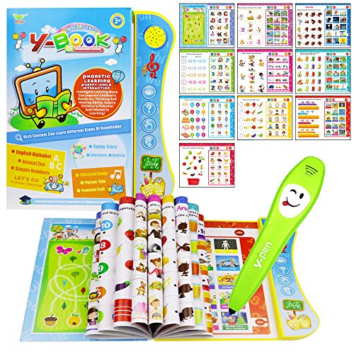 HAPTIME Electronic English Learning Book with Smart Logic Pen, Early Educational Talking Book Interactive Toy for Kids Toddlers Boys Girls
