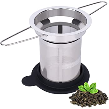 House Again Extra Fine Mesh Tea Infuser - Fits Standard Cups Mugs Teapots - Large Size Perfect Stainless Steel Filter for Brewing Steeping Loose Tea, Travel Ready (Extra Fine Mesh)