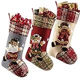 LessMo 3 Piezas de Medias de Navidad, calcetín Grande, calcetín de Navidad Personalizado, Bolsa de calcetín para niños, Regalo, Decoraciones para Fiestas de Navidad (6)