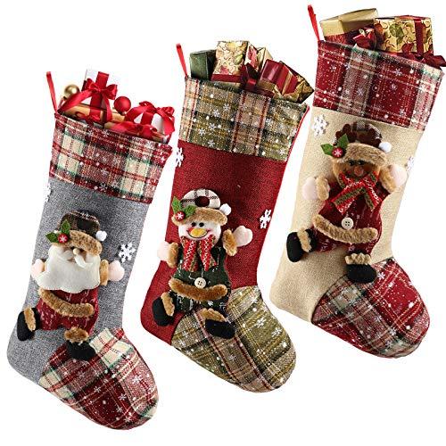 LessMo 3 Pezzi Calze Di Natale, Grande Calza Regalo Di Natale, Sachetto Personalizzata Per Calze Natalizie Per Bambini Regalo Vacanza In Famiglia Decorazioni Per Feste Di Natale Decorazione Per Albero