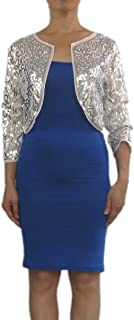 Whitewed 3/4 Sleeve Bling Sequin Transparent Mesh Bolero Wrap Shrug Tops Jackets