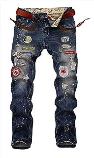 [プチドフランセ ] ジーンズ メンズ パンツ カラー ワッペン デニム W-2