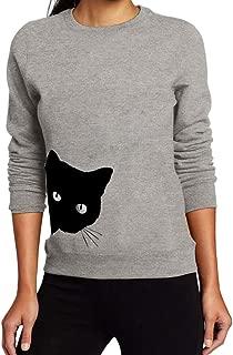 Cute Cat Long Sleeve Sweatshirts Women Crowneck Pullover Loose Blouse Top
