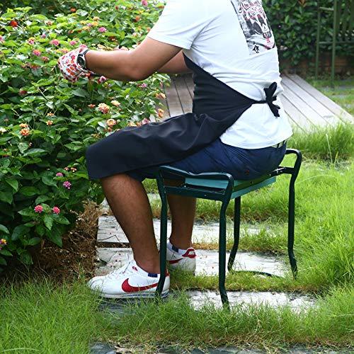 Zelphine Foldable Garden Kneeler and Seat with Side Bag, Sturdy Portable Garden Kneeling Stool Bench with Soft EVA Foam, Soft Kneeling pad for Gardening