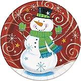 23cm, quadratisch Schneemann Swirl Weihnachten Party Teller, 8Stück