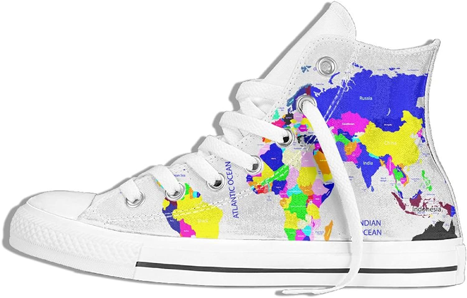 color Map Classic Canvas shoes,High-Top Sneakers Sport,Casual Fashion Unisex
