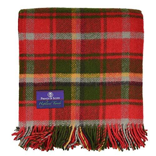 Prince of Schotten Highland Tartan Tweed 100% Schurwolle Überwurf, Wolle und Wollgemisch, maple, Einheitsgröße