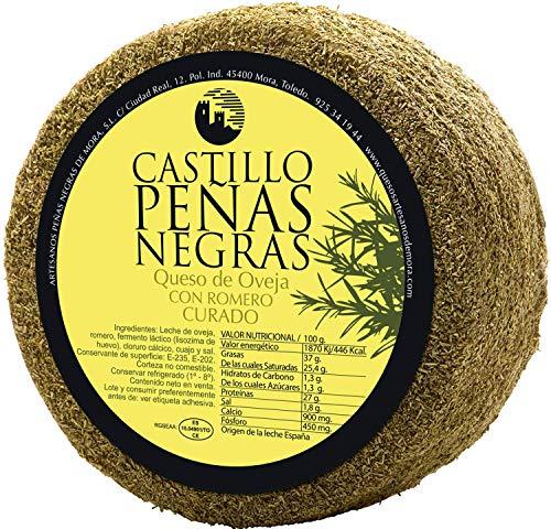 Castillo Peñas Negras | Medio Queso Curado con Romero | 1,5kg | Cortado en Cuartos y Envasado al Vacío | Queso de Oveja Tipo Manchego | Sabor Intenso | Maduración de más de 6 Meses | Gourmet
