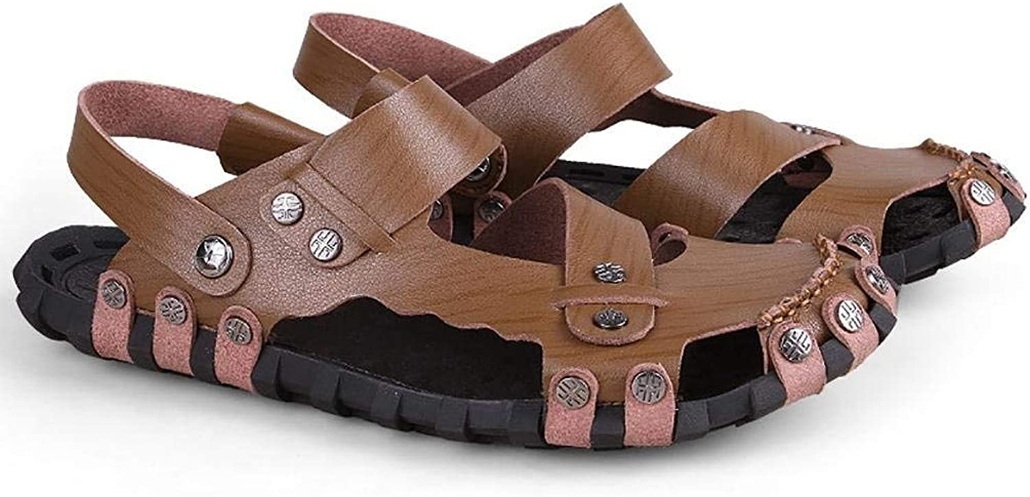Yingsssq Men's Hand Flip Flops Casual Leather Sandals (Two Types of Tees) (color   Khaki, Size   38)