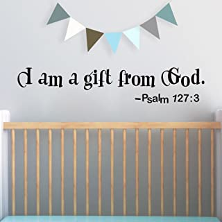 FlyWallD Wall Decal Baby Boy Room I Am A Gift from God Psalm Quotes Bible Sayings Sticker Girls Room Nursery Decor