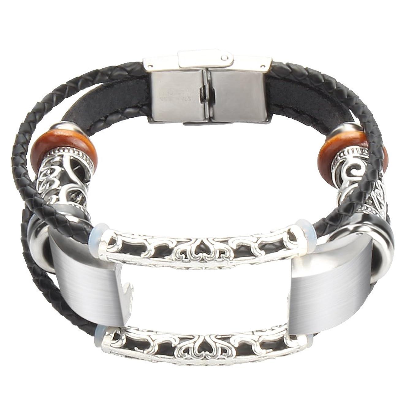 somoder Leather Bands Compatible Fitbit Alta HR & Fitbit Alta, Handmade Vintage Fashion Alloy Leather Bracelet Replacement Fitbit Alta Bands, Adjustable 5.5