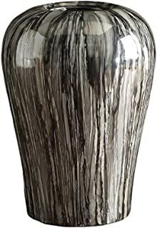 Vases New Chinese Home Accessories Gray Wood Grain Ceramic Decoration Large Clay Pot Flower Living Room Flower Arrangement Home Accessories (Size : S)