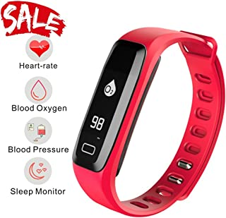 Smart Watch, Fitness Tracker, READ R6.PRO Heart Rate Monitor Blood Pressure Bracelet Pedometer Activity Tracker Sleep Monitoring Call SMS SNS Remind Watch for Android iOS (red)