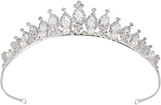 BriLove Women's Crystal Victorian Style Simulated Pearl Bling Wedding Bridal Crown Hair Tiara Silver-Tone