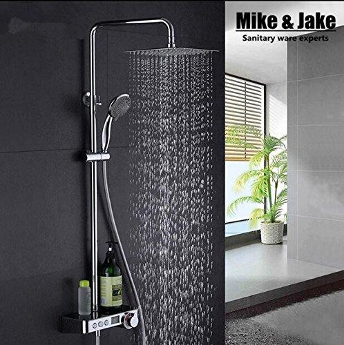 Galvanik Retro Wasserhahn ganze Messing digitale Dusche mit Display mit Dusche Zeitanzeige Wasserhahn mixer Badezimmer thermostatische eingerichtet Dusche Dusche, Weiß