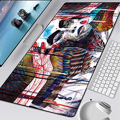 glorious mouse pad 3xl 23.6x11.8 inch Extended Large Mouse Pad Waterproof Keyboard Mat with Non-Slip Base Stitched Edges Smooth Surface-Professional Large Gaming Mouse Pad, Dazzling colorful geometric
