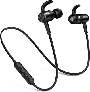 Picun Bluetooth Headphones IPX7 Waterproof 10 Hrs Playtime, HiFi Stereo Wireless Sports Earphones with Noise Reduction Mic/Carry Pouch, Magnetic Earbuds Secure Fit for Running Gym Workout (Black)