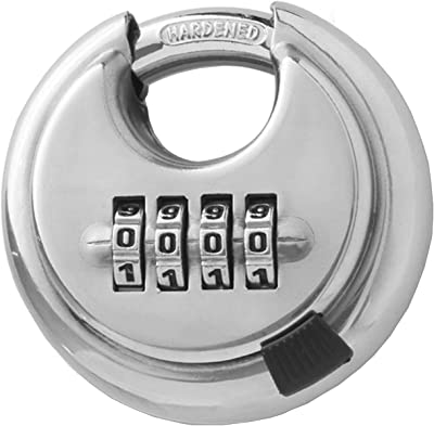 RST-902 Stainless Steel Discus 4 Digit Combination Padlock Waterproof Rustproof Storage Lock with 0.36 Inch Hardened Shackle for Shed,Toolbox,Gate,Fence,Garage,Outdoor Use,Sliver