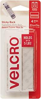 VELCRO Brand - Sticky Back Hook and Loop Fasteners | Perfect for Home or Office | 3 1/2in x 3/4in Strips | Pack of 4 | White