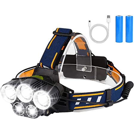 Brigenius Lampe Frontale Led Super Lumineuse Rechargeable Puissante éTanche avec 6 Modes, RéGlable à 90° Pour la PêChe De Nuit, la RandonnéE, la Course à Pied, le Camping, Le Cyclisme et les Travaux