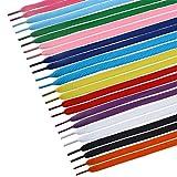 Tinksky 12 pares de cadarços planos para cadarços de sapatos para esportes, botas, tênis, skates (cores sortidas)
