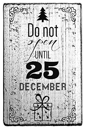 Vintage Stamps Christmas Themed Wood Stamp 'do not open UNTIL 25 DECEMBER' ,1-5/8' x 2-3/4' impression (072136)