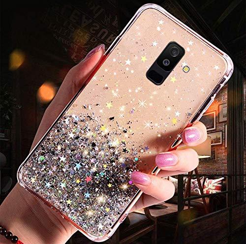 Handyhülle Kompatibel mit Samsung Galaxy A6 Plus 2018 Glitzer Hülle Silikon Tpu Glänzend Bling Stern Muster Shiny Ultra dünn Weiche TPU Schutzhülle Stoßfest Bumper Case Handytasche,Klar