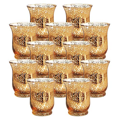 Nuptio Set of 12 Mercury Glass Hurricane Votive Candle Holder - Speckled Gold Finish - for Your Wedding Decorations Or Home Decor