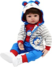 TiaNara Reborn Baby Doll in Monkey Outfit, Brown Wig Realistic Newborn Boy Real Life Baby Doll Gift for 3 4 5 6 Year Old (Blue, 24 Inches)
