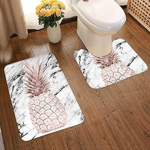 DearLord Juego de 2 alfombrillas de baño de oro rosa con diseño de piña y alfombrilla de baño suave antideslizante y en forma de U, absorbente de agua