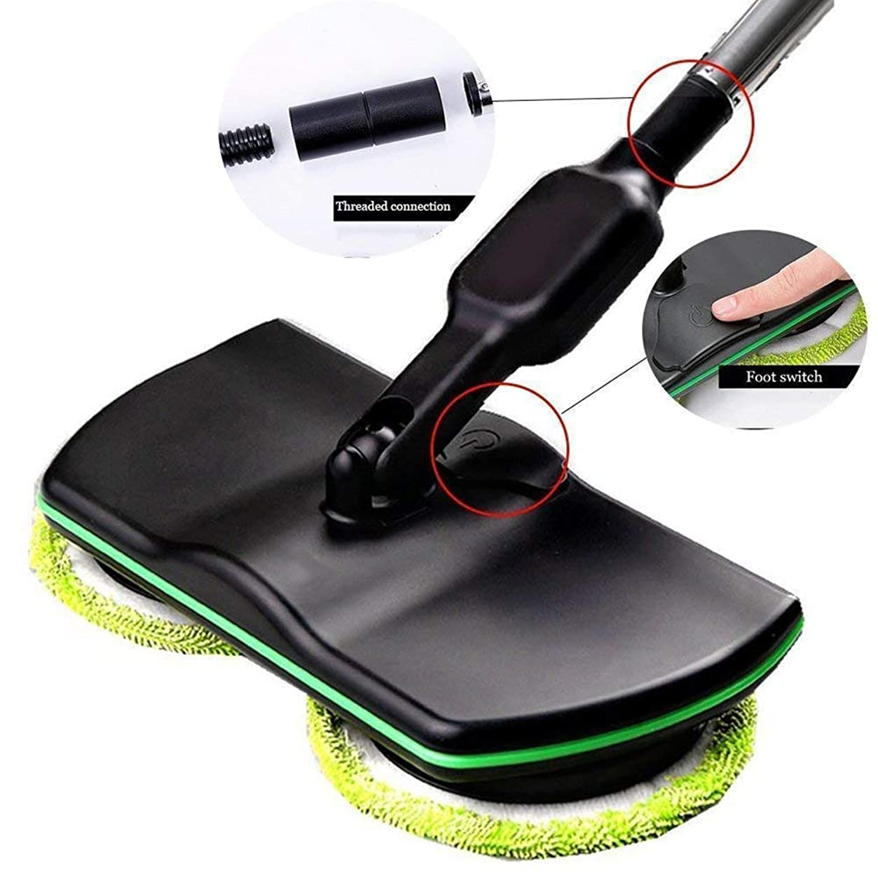 アコー起こりやすい経由で床掃除用コードレス電動スピニングモップ、充電式電動床掃除機スクラバーポリッシャーモップ、ハンドヘルドポリッシャー、スクラバースイーパー