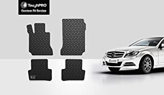 TOUGHPRO Floor Mat Accessories Set (Front Row + 2nd Row) Compatible with Mercedes-Benz C Class (Sedan) - All Weather - Heavy Duty - Black Rubber - 2008, 2009, 2010, 2011, 2012, 2013, 2014