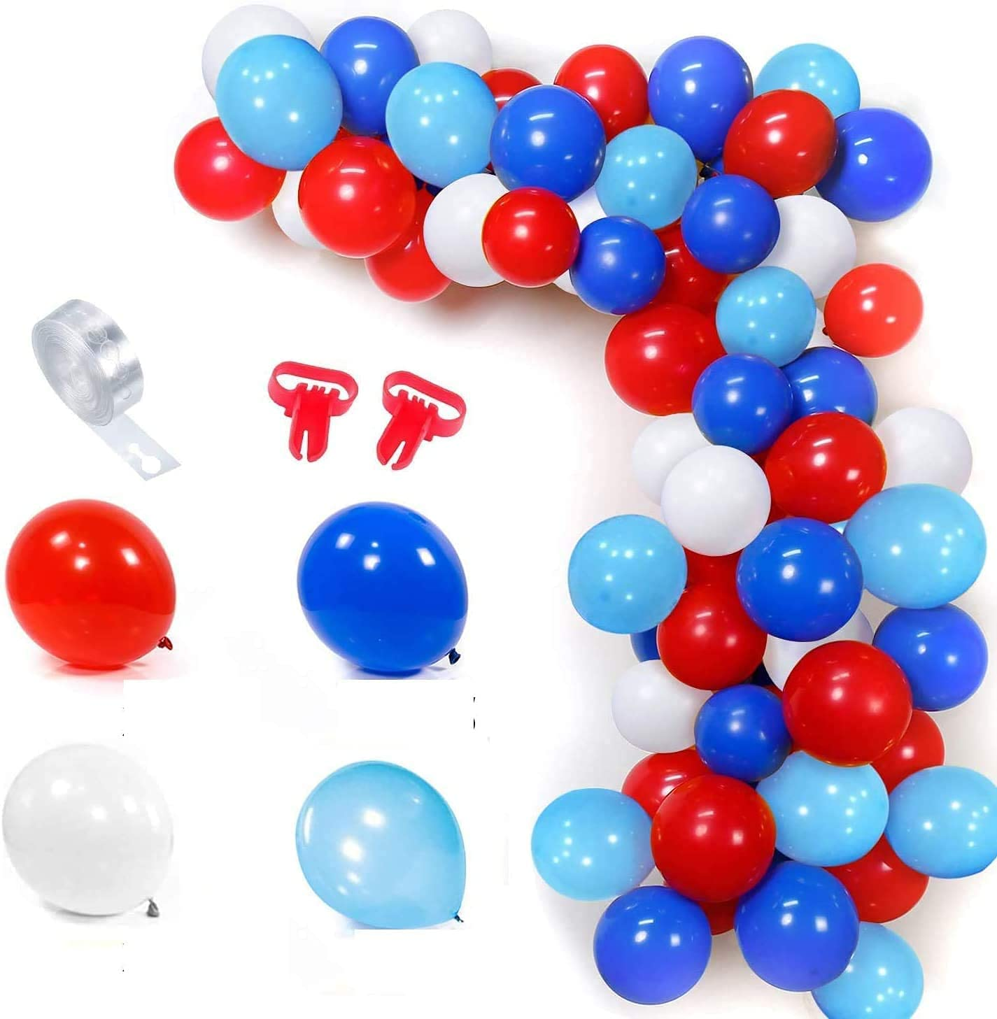100PCS Red White Blue Balloon Garland Kit for Boys Men Royal Navy Blue Party Decorations Arch Balloons Set with 16ft Balloon Stripe Tape Chain for Birthday Graduations Themed Party Home Decor