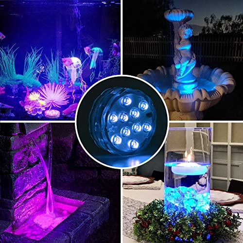 UBEGOOD Submersible LED Lights with Remote, Waterproof Underwater Led Lights [Battery Operated] Decoration Light for Aquarium, Hot Tub, Pond, Pool, Base, Vase, Garden, Wedding, Party [4 Pack]
