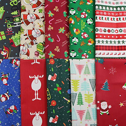 aufodara Navidad Tela Algodon 10 piezas Telas Patchwork 50x50cm Algodón Para Coser...