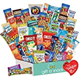 Valentines Day Candy Gift Basket for Kids Snack Box Variety Pack (50 Count) - College Student Care Package, Prime Food Arrangement Chips, Cookies, Bars - Birthday Treat for Her, Him, Teen, Boy, Girl