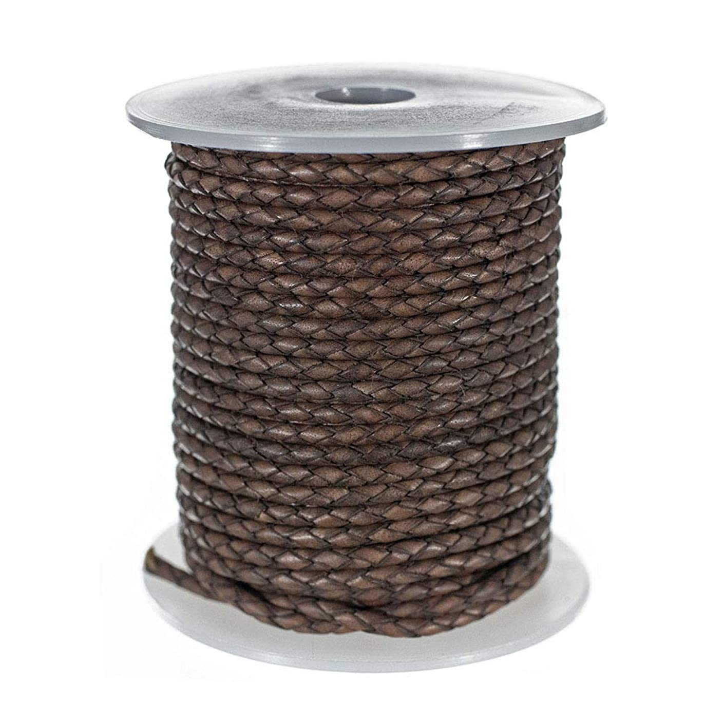West Coast Paracord 10 Yard 3 mm Round Braided Leather Cord – Folded Bolo PU Braid – Use for Necklace, Bracelets, Jewelry, Bolo Tie, and More – Brown