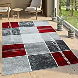 Paco Home Tapis De Créateur Contemporain à Carreaux Marbré en Gris Rouge, Dimension:160x220 cm