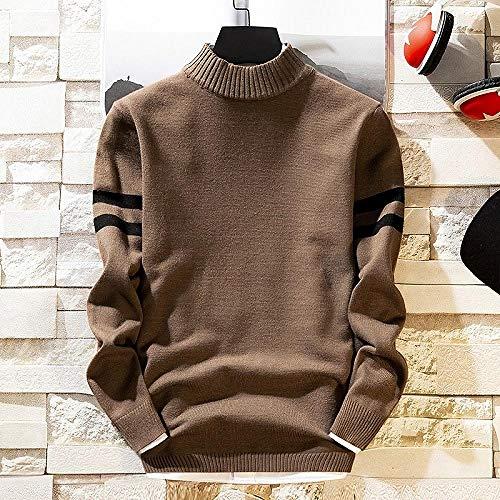 JFHGNJ Mens Coltrui Dikke Houd Warm Man Winter Truien Casual Man s Knitwear Slim Fit Kleding-Brown_De