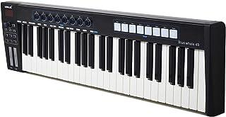 لوحة مفاتيح تحكم MIDI المحمولة باليو إس بي 49 على شكل حوت أزرق من WORLDE 49 مفتاحاً شبه مرجحاً 8 منصات زناد بإضاءة خلفية R...