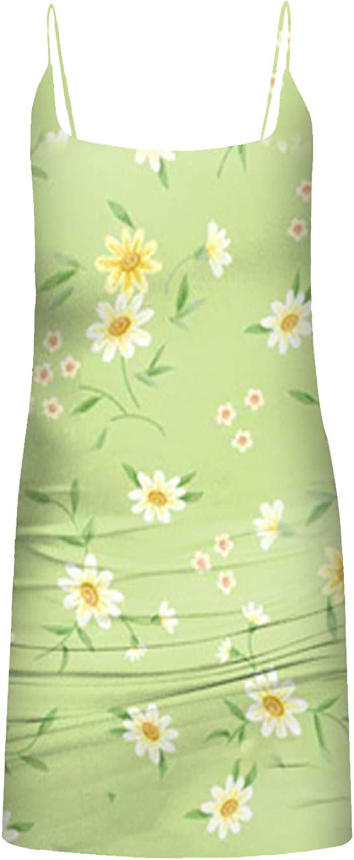 KAIXLIONLY Tube Top Dress Women Sunflower Ruched Bodycon Club Mini Dresses Print Camisole Bra Sleeveless Sexy Slim Crop Top