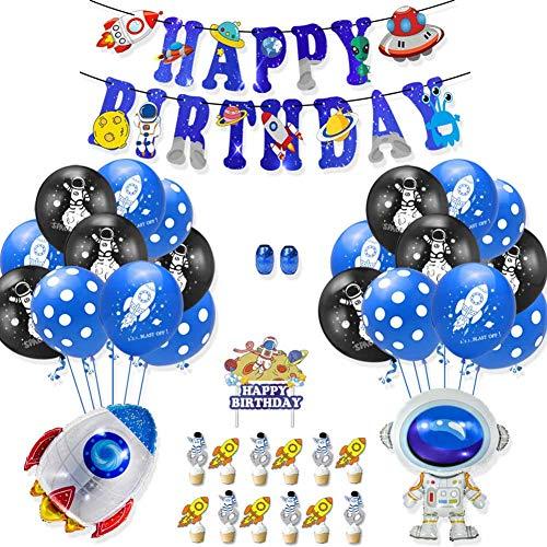 LAOKEAI Weltraum Partyzubehör, Space Galaxy Astronaut Thema hängen Banner Zeichen Party Luftballons und Cake Toppers Party Dekorationen für Kinder Jungen Geburtstagsfeier