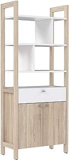 Etagère 2 Portes 1 tiroir 4 tablettes Blanc et décor chêne Clair - Rangement - Norway