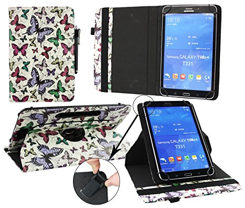 Emartbuy® ALLDAYMALL A88X 7 Zoll Quad Core Tablet PC Universal (7-8 Zoll) Multi-farbigeSchmetterlinge 360GradrotierendeStandFolioGeldbörseTascheHülle + Schwarz Eingabestift