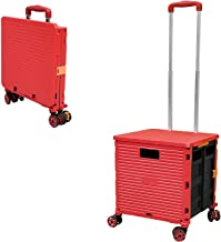 Foldable Utility Cart Folding Portable Rolling Crate Handcart with Durable Heavy Duty Plastic Telescoping 360 Four Wheeled...