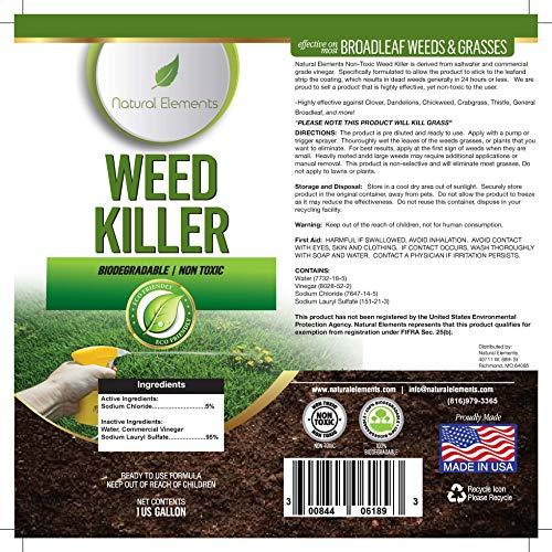 Natural Elements Weed Killer   Pet Safe, Safe Around Children   Natural Herbicide (1 Gallon)